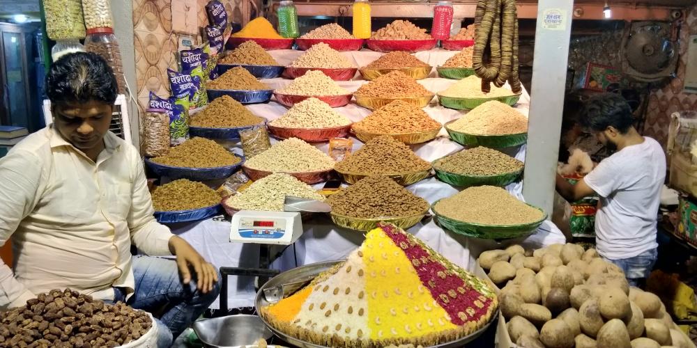 Dry fruit seller in Old Delhi